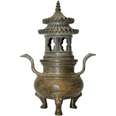 Ming Style Bronze Incense Burner, Chinese Temple Censer Model