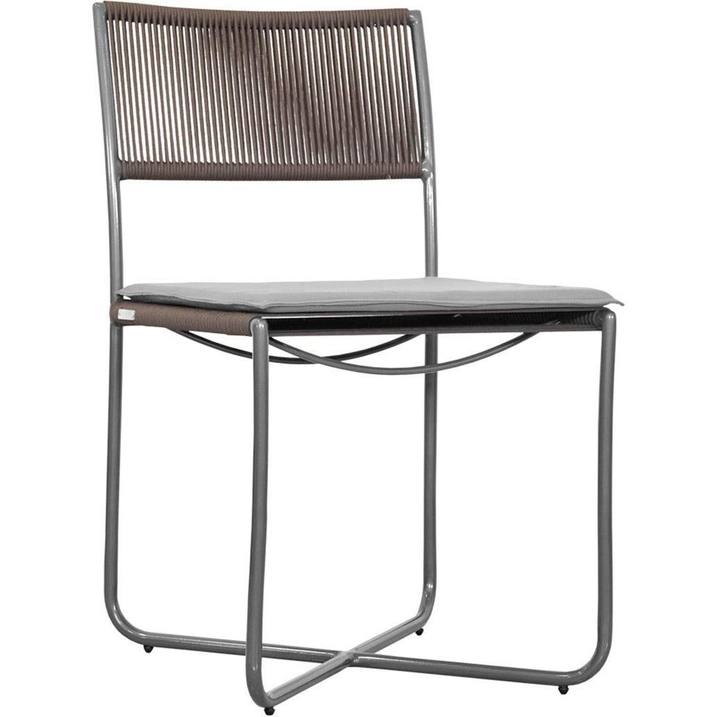 Minimalist Modern Outdoor Chair, Metal Structure With Nautical Rope Pattern  For Sale
