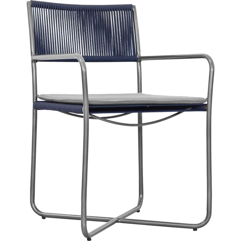 Minimal and Modern Style Chair with Arms, Metal with Nautical Rope Pattern