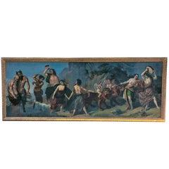 "Monumental, Original Old Master Painting, Italian School ""Bacchanal"" Monogrammed"