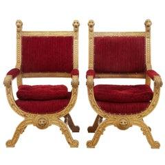 Pair of 19th Century Flemish Light Oak Throne Armchairs