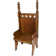 Small Clergy Chair with Carved Lilies