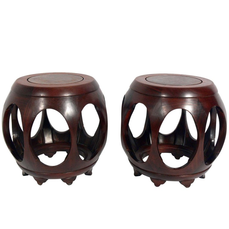Pair of Sculptural Asian Stools or End Tables