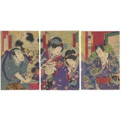 Chikashige Ukiyo-e Japanese Woodblock Print, Kabuki, Folk Tale, Cat, 1880