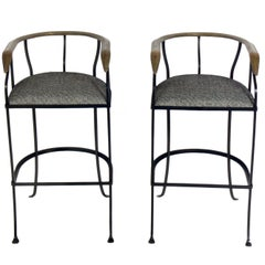 Pair of Elegant Brass and Iron Bar Stools