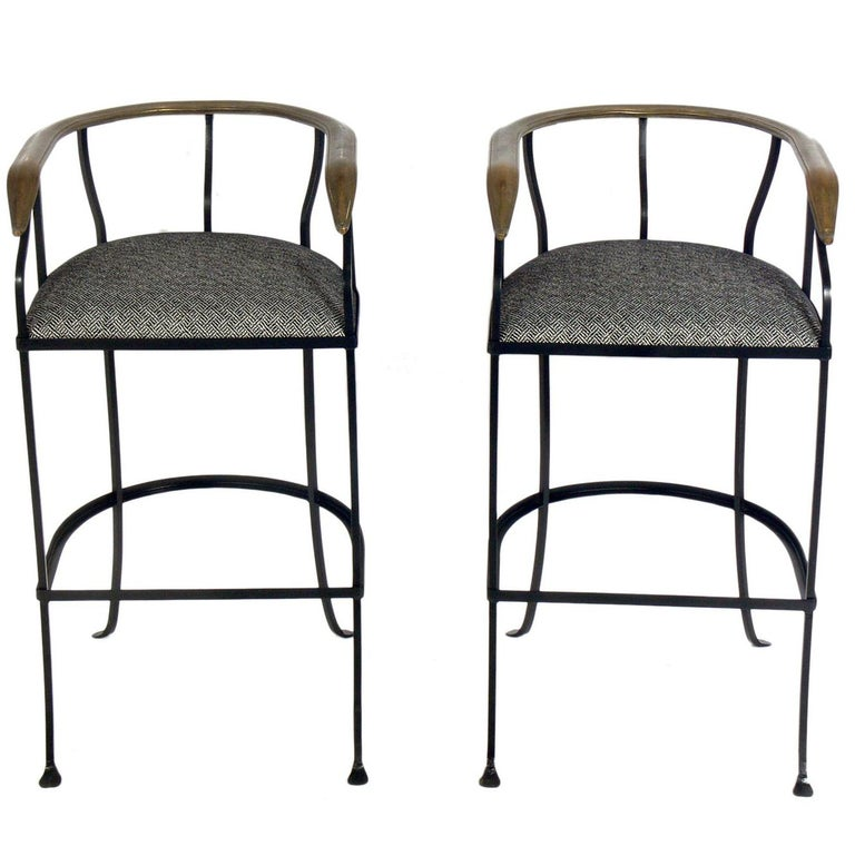 Pair of Elegant Brass and Iron Bar Stools For Sale