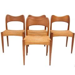 Set of Four Danish Teak Chairs by Arne Hovmand Olsen for Mogens Kold
