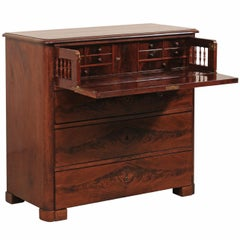 Swedish Biedermeier Secrétaire Mahogany Wood Chest, circa 1830