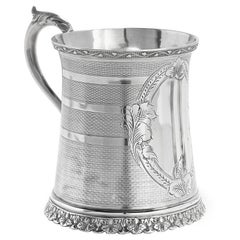 19th Century Henry Peat Buckley Coin Silver Mug