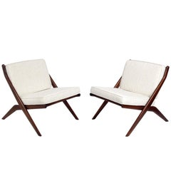 Pair of Sculptural Scissor Chairs by Folke Ohlsson