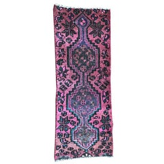 Vintage Persian Karache Serapi Heriz Geometric Pink, Green and Blue Runner