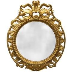 19th Century Italian Carved and Pierced Giltwood Circular Mirror with Cartouche