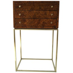 Milo Baughman Three-Drawer Burl Wood Jewelry Box Chest Stand Cabinet Table