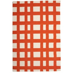 Orange and White Modern Plaid Grid Handwoven Dhurrie Rug