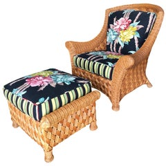 Large Daddy Woven Wicker Lounge Chair with Matching Ottoman