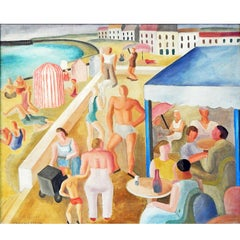 """""""Cafe on the Beach,"""" Vivid, Sun-Filled Scene Painting, French Seashore, 1933"""