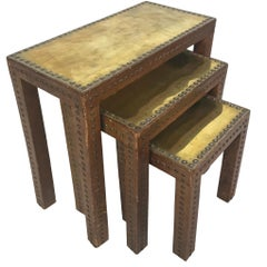 Set of Leather Wrapped Nesting Tables with Brass Tops and Brass Tack Detail