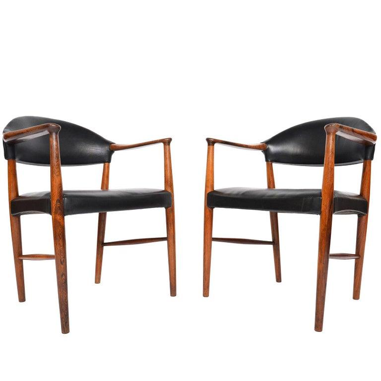 Pair of Kurt Olsen Model 223 Rosewood Armchairs