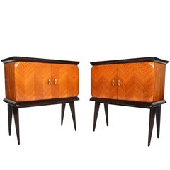 Pair of Italian Mid-Century Modern Rosewood Nightstands