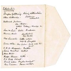 Sir Arthur Conan Doyle Handwritten List