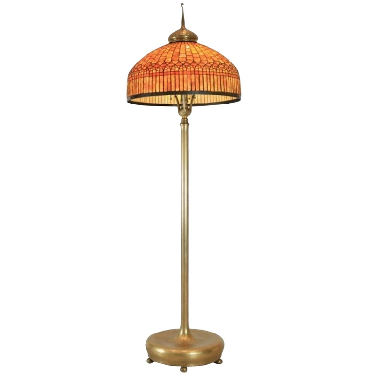 Geometric Curtain Border Glass and Bronze Floor Lamp by Tiffany Studios