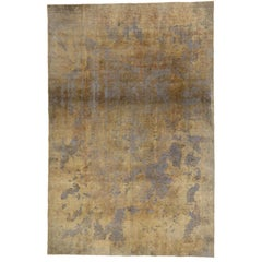 Warm, Neutral Color Distressed Vintage Turkish Rug with Industrial Luxe Style