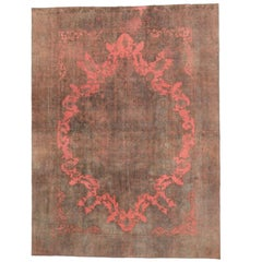 Overdyed Distressed Vintage Turkish Rug with Postmodern and Industrial Style