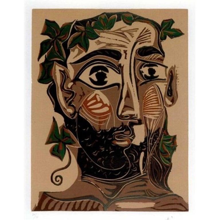 """""""Homme Barbu Couronné De Feuillage"""" by Pablo Picasso"""