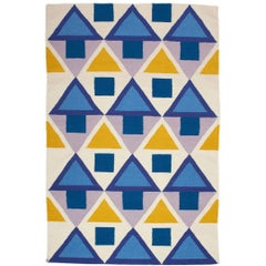 Modern Blue Yellow Tribal Inspired Flat-Woven Dhurrie Rug