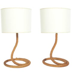 Pair of Sculptural Rope Lamps