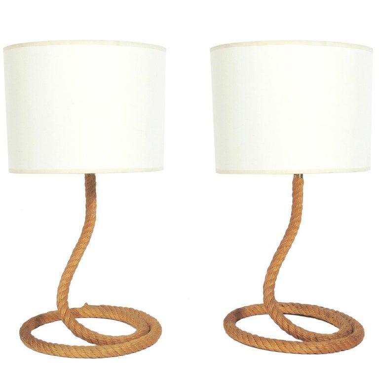 Pair of Sculptural Rope Lamps