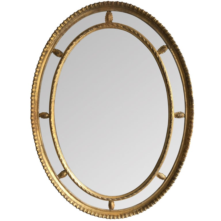 19th Century Oval Border Mirror