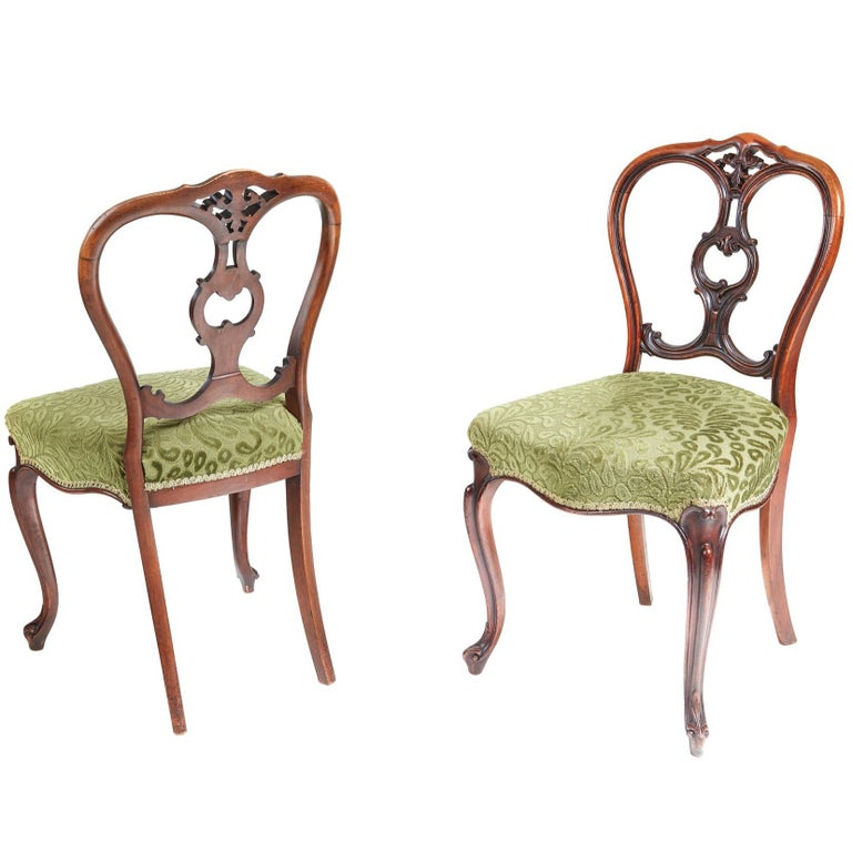 Fine Quality Pair of Antique Victorian Walnut Side Chairs - Pair Of Antique Victorian Mahogany Side Chairs For Sale At 1stdibs