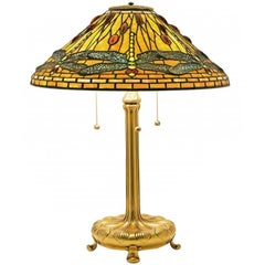 Tiffany Favrille Glass & Bronze Jeweled Dragonfly Table Lamp on Gilt Bronze Base
