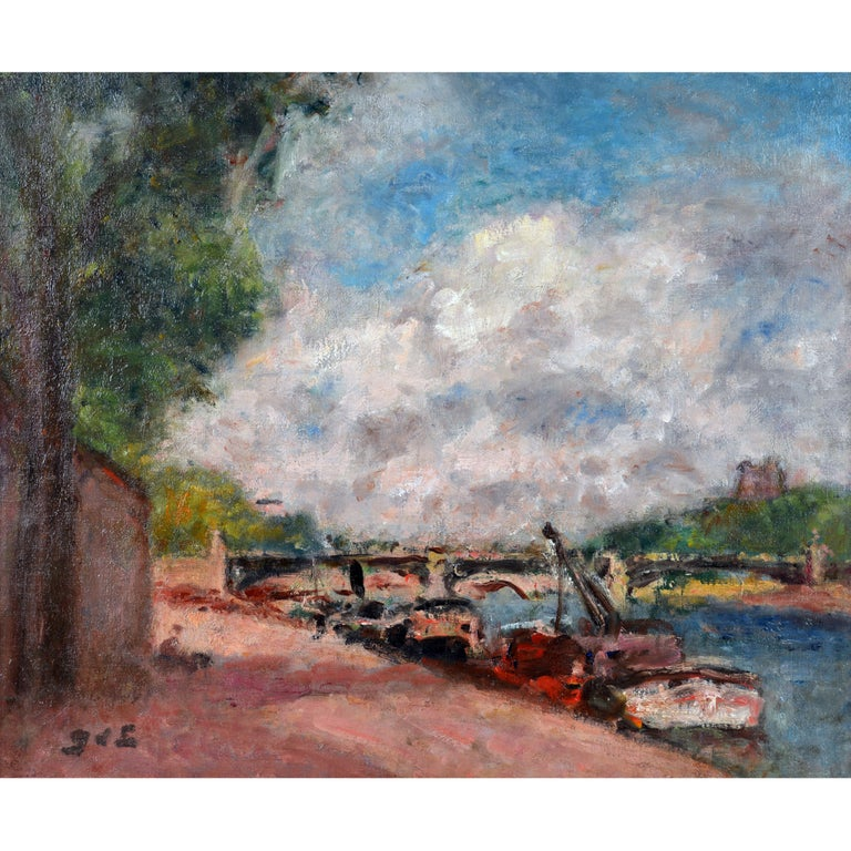 'Along the Seine' by Georges d'Espagnat, French Post Impressionist, 1870-1950 For Sale