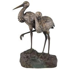 Art Deco bronze sculpture of a couple of storks by A. Vannier, 1930 France