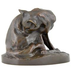 French Art Deco bronze sculpture of a cat by Charles Virion 1930
