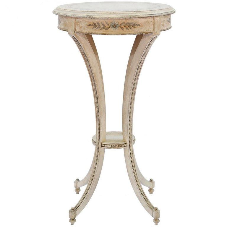 Painted Candle Stand Accent Table