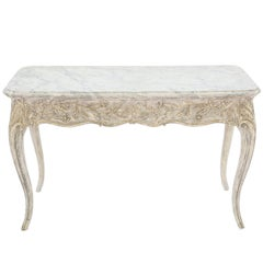 Painted Italian Writing Table with Acanthus Carved Apron