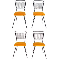 Perforated Iron Dining Chairs Attributed to Mathieu Matégot