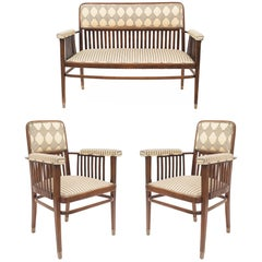 Set of Three Austrian Bentwood 'Secessionist' Chair Set