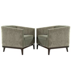Mid-Century Modern Tub Chairs in Chenille