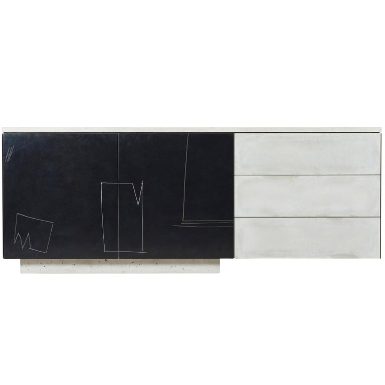 """Concrete, Steel, Wood, Patinated Drawn Faces """"C-210v2"""" Cantilevered Credenza"""