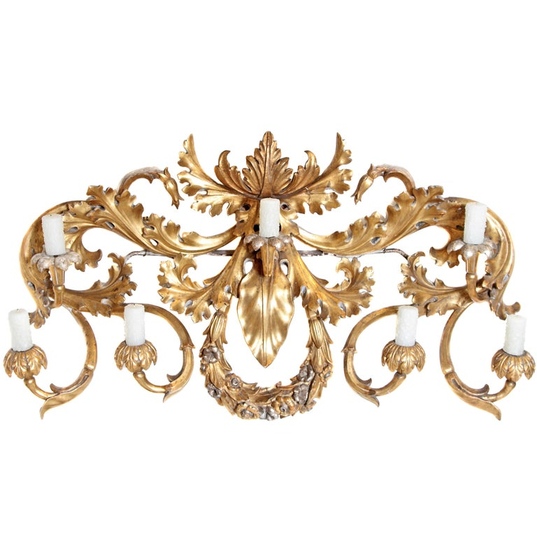 Oversized Italian Baroque Style Seven-Arm Gilt and Silvered Wood Wall Sconce For Sale