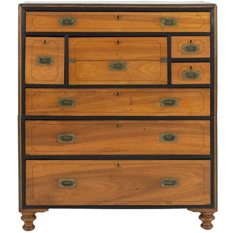 19th Century Two-Part Camphor Wood Campaign Chest and Secretary Desk