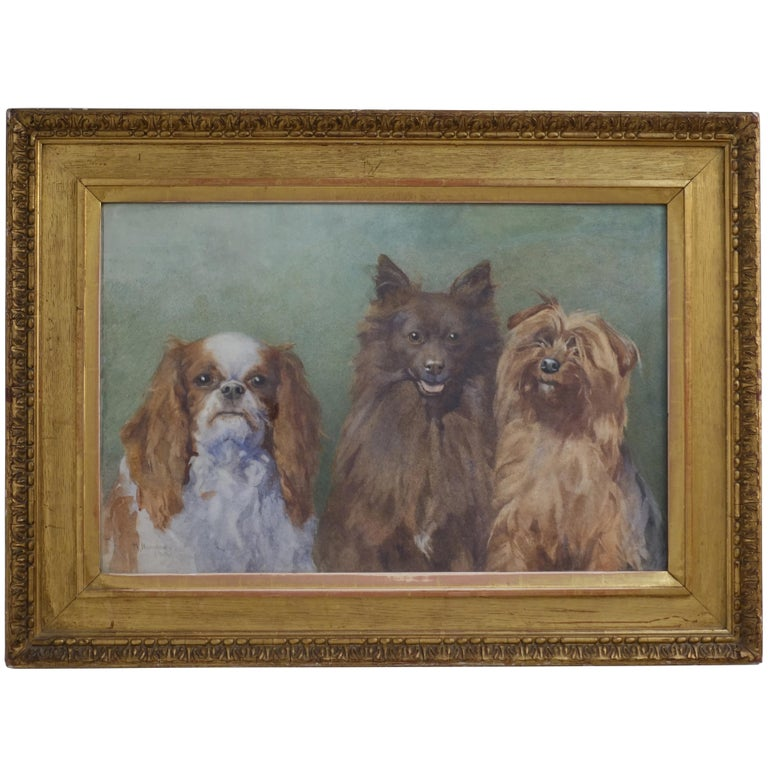 Watercolor Portrait Painting of Three Dogs in Gilt Frame, English, 1910