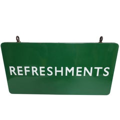 Green Enamel Refreshments Advertising Sign, American, Early to Mid-20th Century