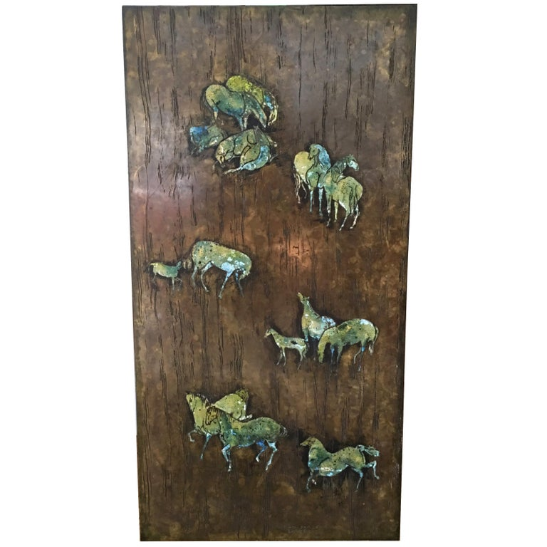 Rare Large Etched Bronze Polychrome Wall Plaque by Philip & Kelvin LaVerne For Sale