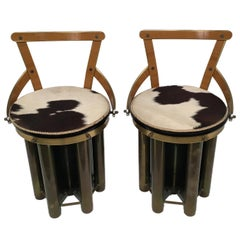 Pair of Mid-Century Modern Stools Chairs Made of Glass, Formica and Brass, 1960s