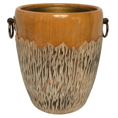 Aldo Tura Ice Bucket for Macabo Italia in Carved Wood and Brass, circa 1950